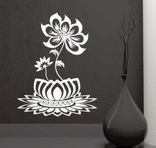 hot deal buy home decor removable lotus flower design wall decal beautiful bedroom decor vinyl buddhism wall stickers home art mural ay521