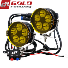 GOLDRUNWAY GR-50XL 50W U3 LED Headlight Motorcycle Driving Fog Spot Bulb Light+Switch+Yellow lenses+Mount Kit