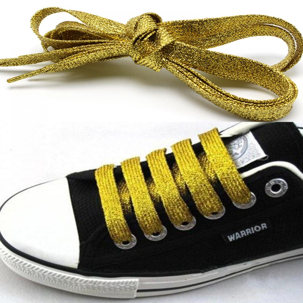1 pair Shiny Gold and Silver thread Sport Sneakers Flat Shoelaces Bootlaces Shoe laces Strings 115cm wholesale 10 piars gold and silver thread sport sneakers flat shoelaces bootlaces shoe laces strings for multi color
