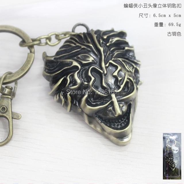 DC Comics Batman The Joker Face Silver/Bronze Grey Pendant Keychain Metal Figures Toy  Key Rings  Movie Jewelry 10pcs/lot