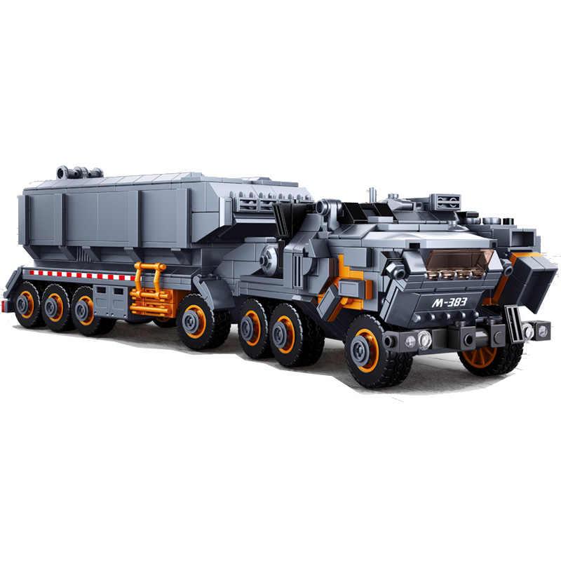 Sluban askeri modeli yapı bloğu Wandering toprak ağır makine taşıma aracı kamyon 832 adet eğitim tuğla oyuncak çocuk