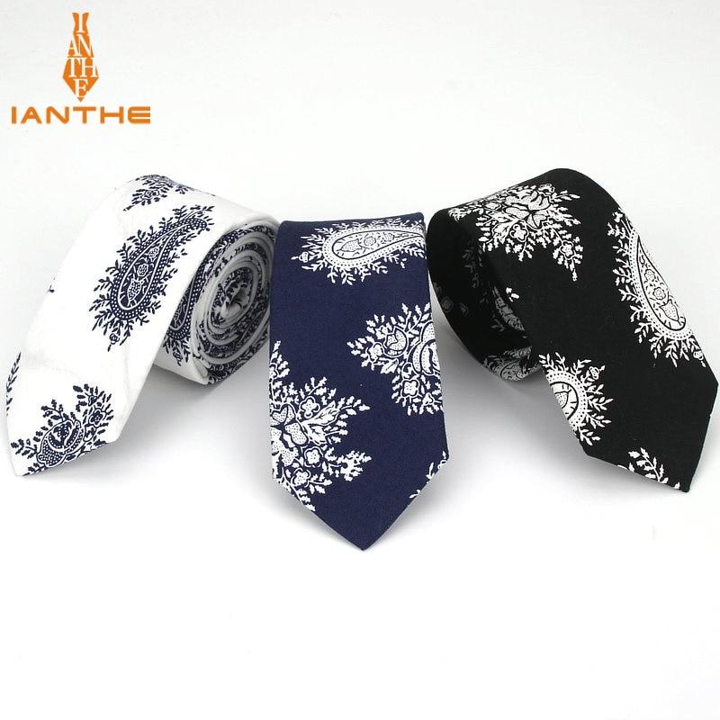 2018 Cotton Men's Navy Black Paisley Neck Ties For Men Necktie Narrow Slim Skinny Cravate Wedding Vintage Neckties Corbatas