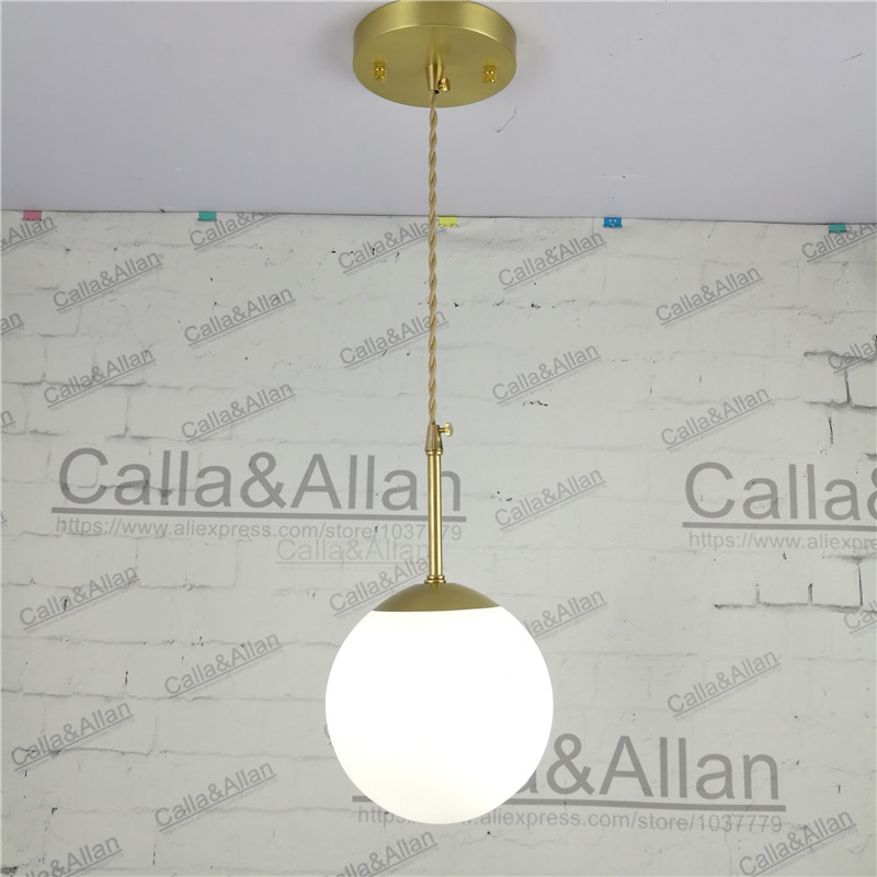 Brass Pendant Light E27 with white glass shade for 110V 220V led bulb Vintage Retro decor copper hanging Lamp for home/room brass half round ball shade pendant light led vintage copper wooden lighting fixture brass wood fabric wire pendant lamp