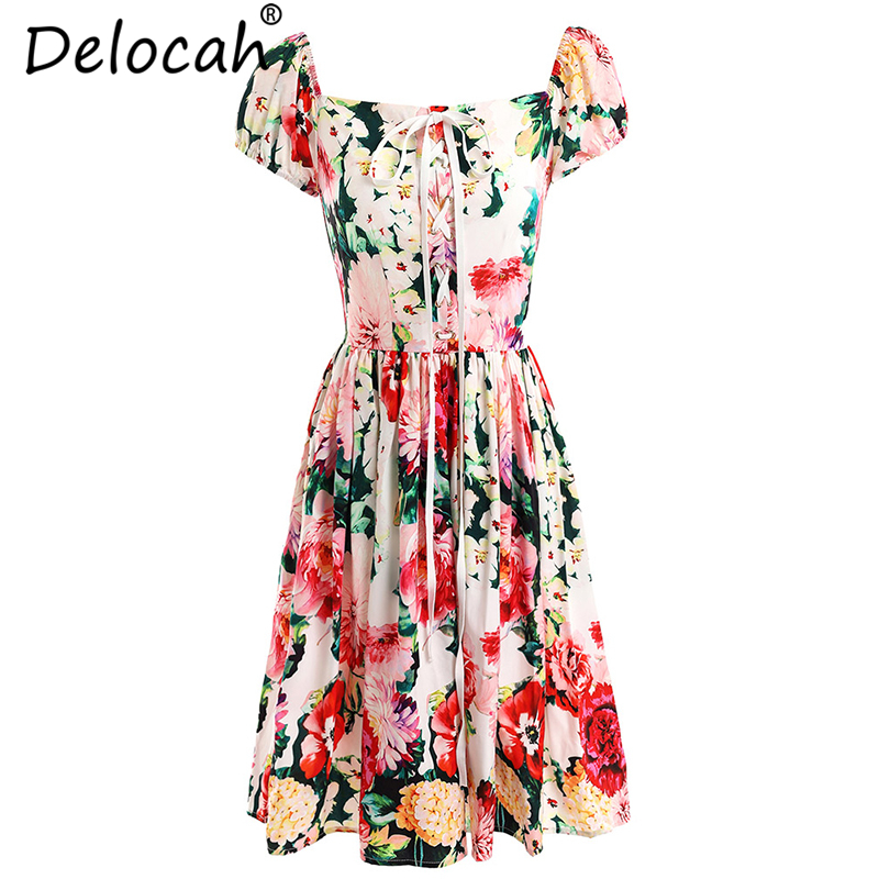 Delocah Women Summer Dresses Runway Fashion Slash Neck Off Shoulder Floral Print Collect Waist Casual Vacation Short Dresses image
