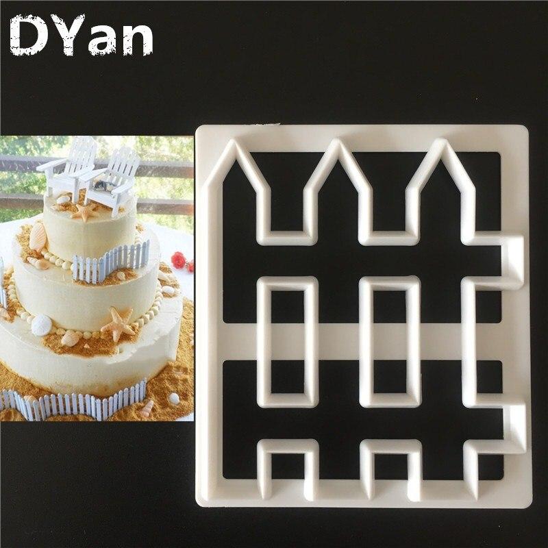 Бесплатная доставка, кухня, сделай сам, креативный, 1 шт., забор, пластиковое украшение для торта, инструмент для торта, инструмент для резки п...
