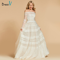 Dressv Ivory Long Evening Dress Off The Shoulder A Line Long Sleeves Elegant Wedding Party Formal