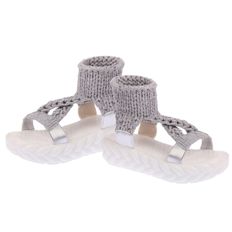 LIN KING Leisure Women Sandals Fashion Knit Thick Sole Lazy Wedges Shoes Anti Slip Summer Platform Shoes Lady Sandalias Big Size in Middle Heels from Shoes