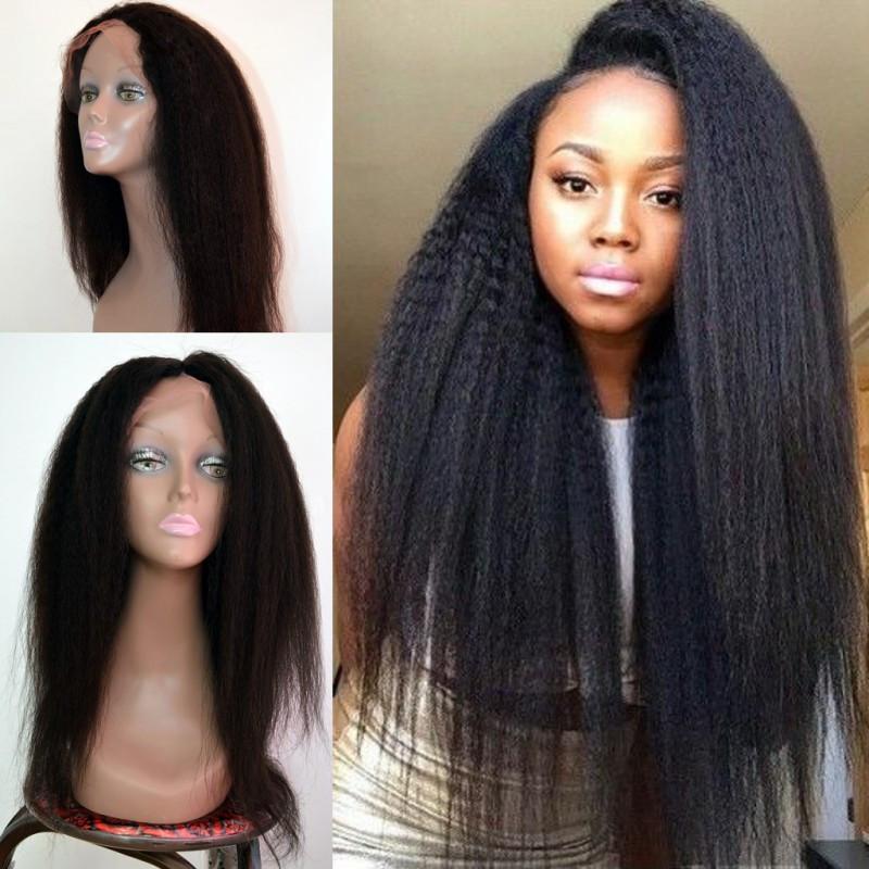 8A Cheap Italian Yaki Glueless Full Lace Human Hair Wigs For Black Women Brazilian Virgin Remy Kinky Straight Lace Front Wigs