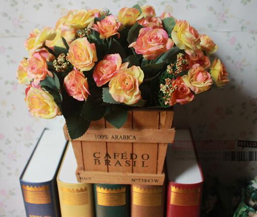 Fleurs en soie or fleur artificielle Mini Rose décor à la maison pour mariage roses bouquet décoration style européen fleurs décoratives