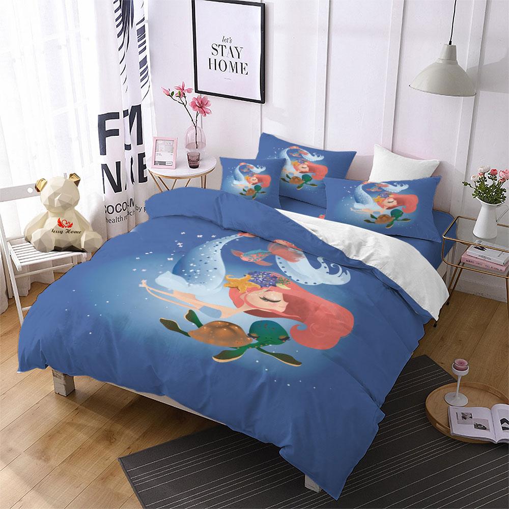 . US  37 23 33  OFF Ocean Mermaid King Size Bedding Set Fairy Tale Comforter  Bedding Sets Kids Duvet Cover Pillowcase Home Decor Cover Bedd Set F in
