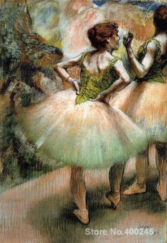 Art oil Painting Dancers Pink and Green by Edgar Degas High quality Handmade