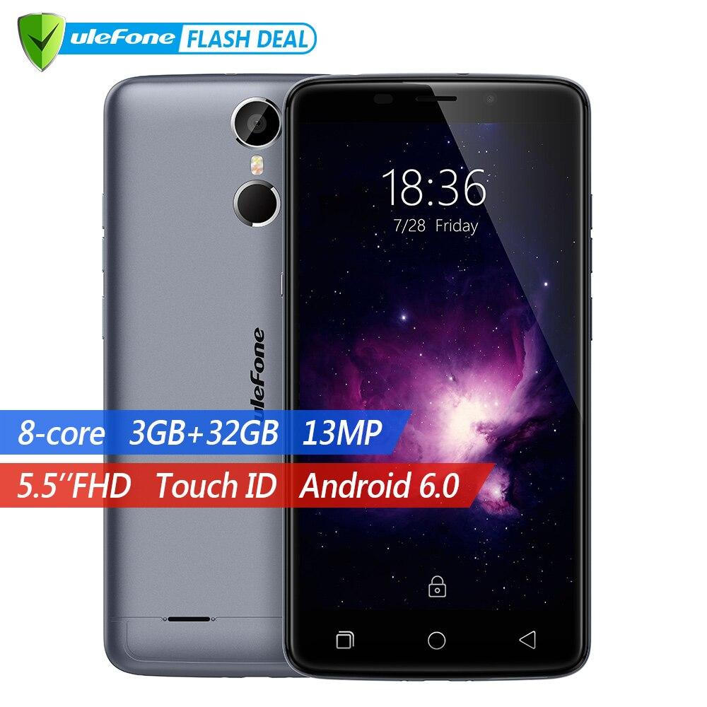 Ulefone Vienna Del Telefono Mobile 5.5 pollice FHD MTK6753 Octa Core Android 6.0 3 gb + 32 gb 13MP Cam di Impronte Digitali ID 4g