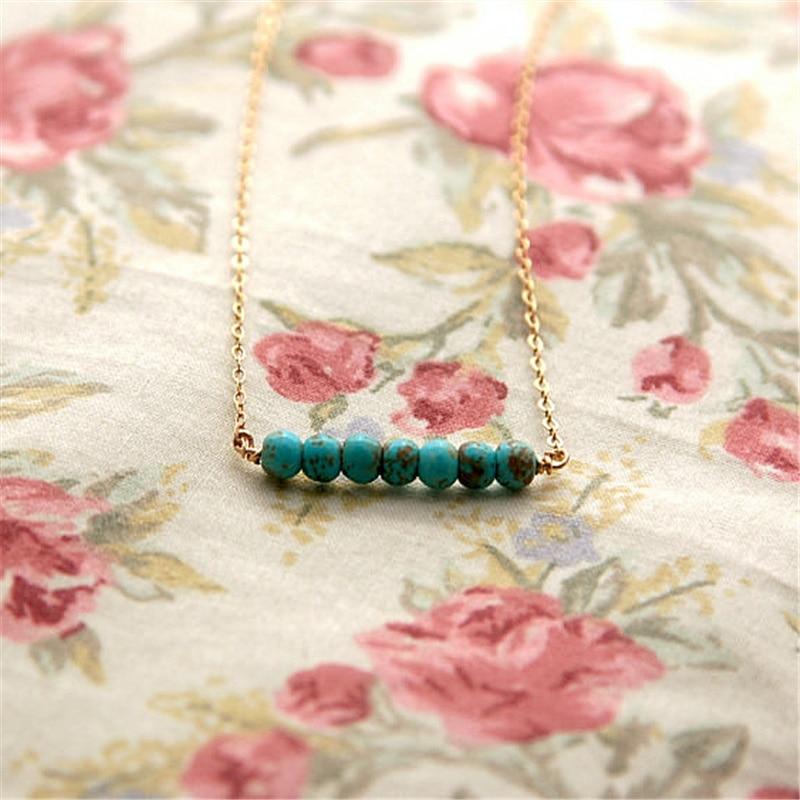 Türkis Halskette für Frauen Gold und Silber Farbe grüne Perlen - Modeschmuck - Foto 6