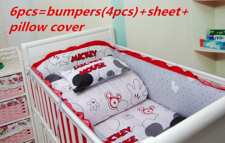 Promotion! 6/7PCS Cartoon Cot Baby Crib Bedding Sets Cotton,Bed Linen,New Print Bedding Set 120*60/120*70cm contrast striped print bedding set
