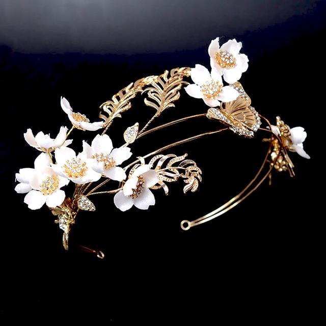 Vintage Gold Leaf Bridal Wedding Hair Accessories Handmade Headpiece White Flower Tiaras Tiara