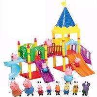 Bela sabiduría juguetes Serie de parque De Atracciones peppaed cerdo Juguetes de PVC Figuras de Acción de Juguete Del Cabrito Del Bebé Regalo de Cumpleaños Familiar