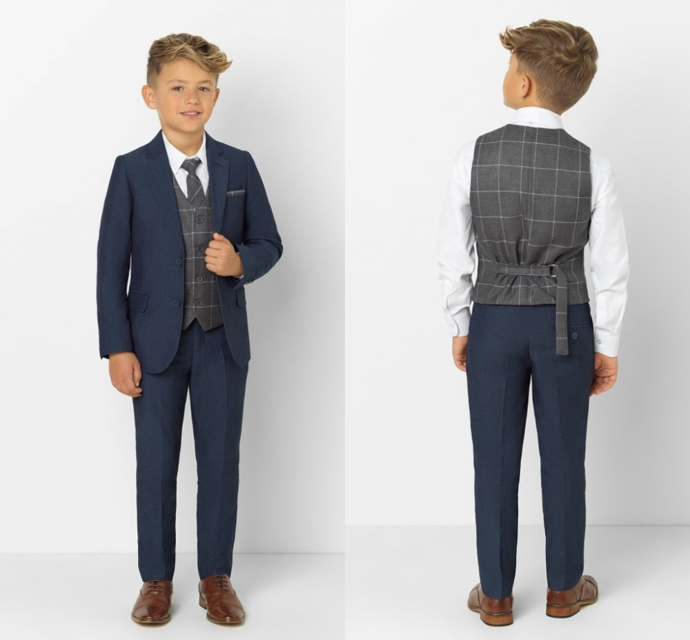 2019 New Arrival Boys' Attire Peaked Lapel Kids Suits Custom Made Clothing Set 3 Pieces Prom Suits (Jacket+Pants+Tie+Vest) 011