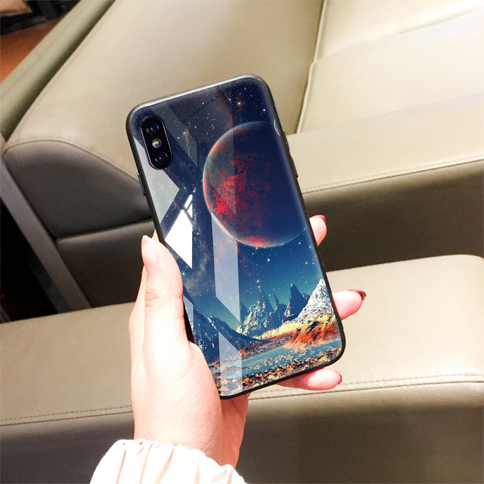 TOMKAS Tempered Glass Case For iPhone XS Max XR XS Silicone Stars Space Cover Phone Case For iPhone X 10 XS XR Luxury Cases TPU  (21)