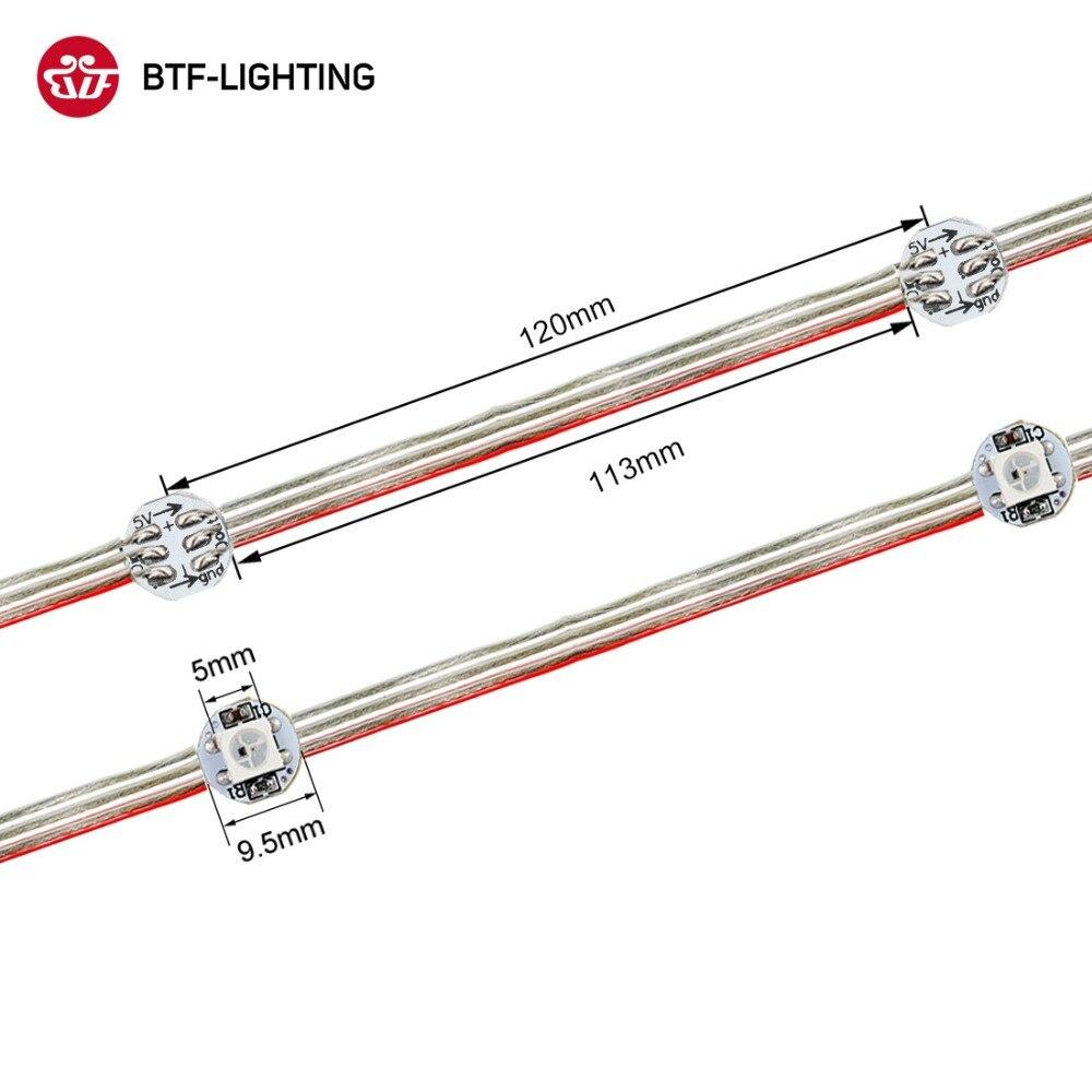 50 светодиодный s/string WS2812B пикселей RGB светодиодный модуль теплоотвода узлы адресуемые индивидуально с Bluetooth музыкальным контроллером DC5V - Цвет: Transparent wire