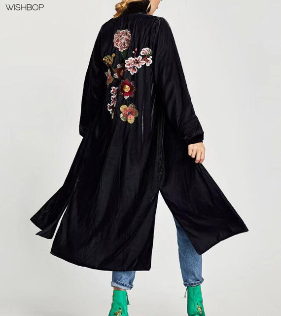 WISHBOP NEW 2017 Fashion Ladies Navy Blue VELVET KAFTAN WITH BACK EMBROIDERY  Sequined long sleeves side vents hem Long jacket debb90c356a9