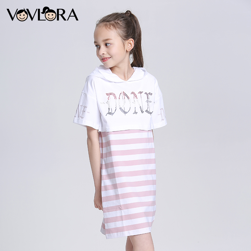 Two Piece Hooded Striped Kids Dress Cotton T Shirts A Line Girls Dresses Summer 2018 Children Clothes Size 9 10 11 12 13 14 Year все цены