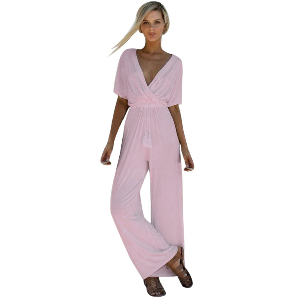 Women v neck half sleeve playsuit party ladies short sleeve casual comfort long jumpsuit combishort femme d1335