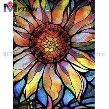 5D DIY Алмазная картина стеклянная витражная мозаика с подсолнухом вышивка крестиком полная квадратная круглая дрель Алмазная декоративная наклейка домашний декор