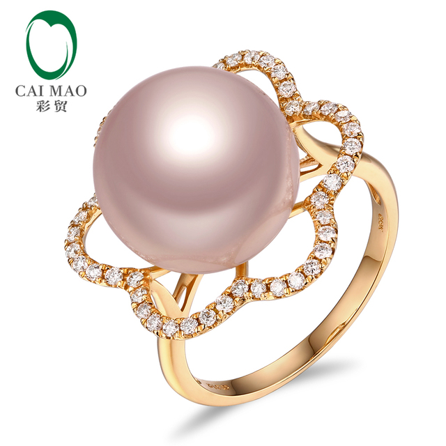 New collection 18k Yellow Gold precious 12-13mm Round Freshwater Pearl Ring 0.33ct Natural Diamond manufacturer