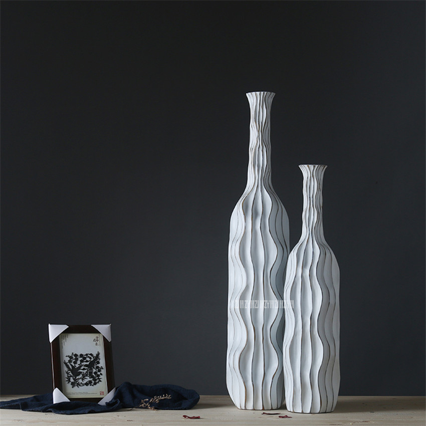 Large Vases For Living Room Decor: Creative Abstract Retro Wave Resin Flowers Vase Vintage