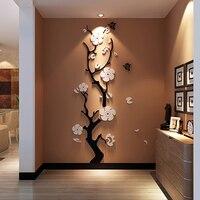 Сливовый цветок 3d акриловые зеркальные настенные наклейки для комнаты спальни DIY искусство настенный Декор Гостиная вход задний план насте...