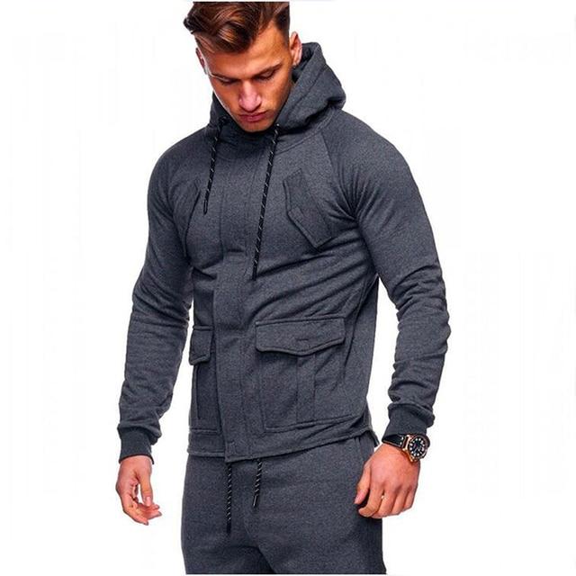 2018 Fashion Hoodies Men Sudaderas Hombre Hip Hop Mens Brand Solid hooded  zipper Hoodie Cardigan Sweatshirt Slim Fit Men Hoody b8e0bd16dd53