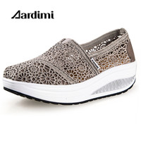Factory Outlet Designer Breathable Lace Slimming Air Women Platform Shoes Spring Summer Casual Outdoor Shoes Women