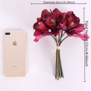 Image 5 - Artificial flowers 7 head orchid  home decoration hotel table fake flower decoration wedding bride bridesmaid holding bouquet