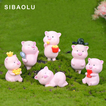 Pink Piggy brother sister cartoon animal model Figurine Dollhouse cake home decor miniature fairy garden decoration accessories