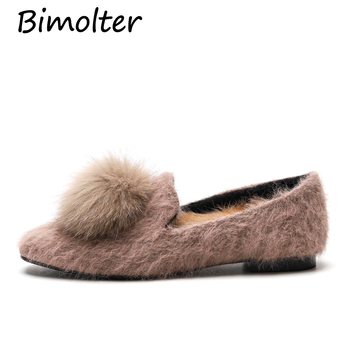 Bimolter Women Mane Fur shoes Warm Rabbit Fur Flats Casual Party Fashion Loafers plush Inside Slip on Office Ladies Shoes NA022