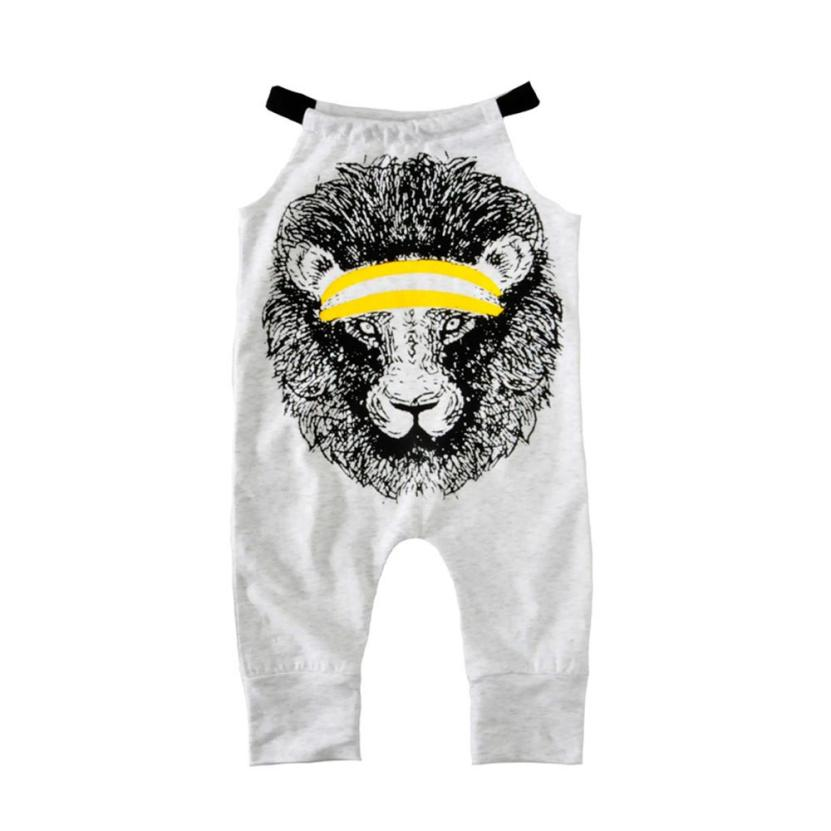 Girls Lion Printed Sling Rompers Gray Newborn Toddler Kids Baby Boy Girl Sleeveless Romper Jumpsuit Clothes Outfit bebes macacao
