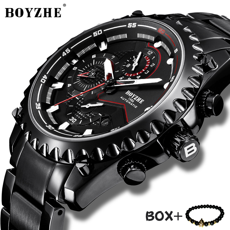 BOYZHE Mens Mechanical Watch Sport Military Watch Waterproof relogio masculino Full Stainless steel Waterproof Wrist watch Man|Mechanical Watches| |  - title=