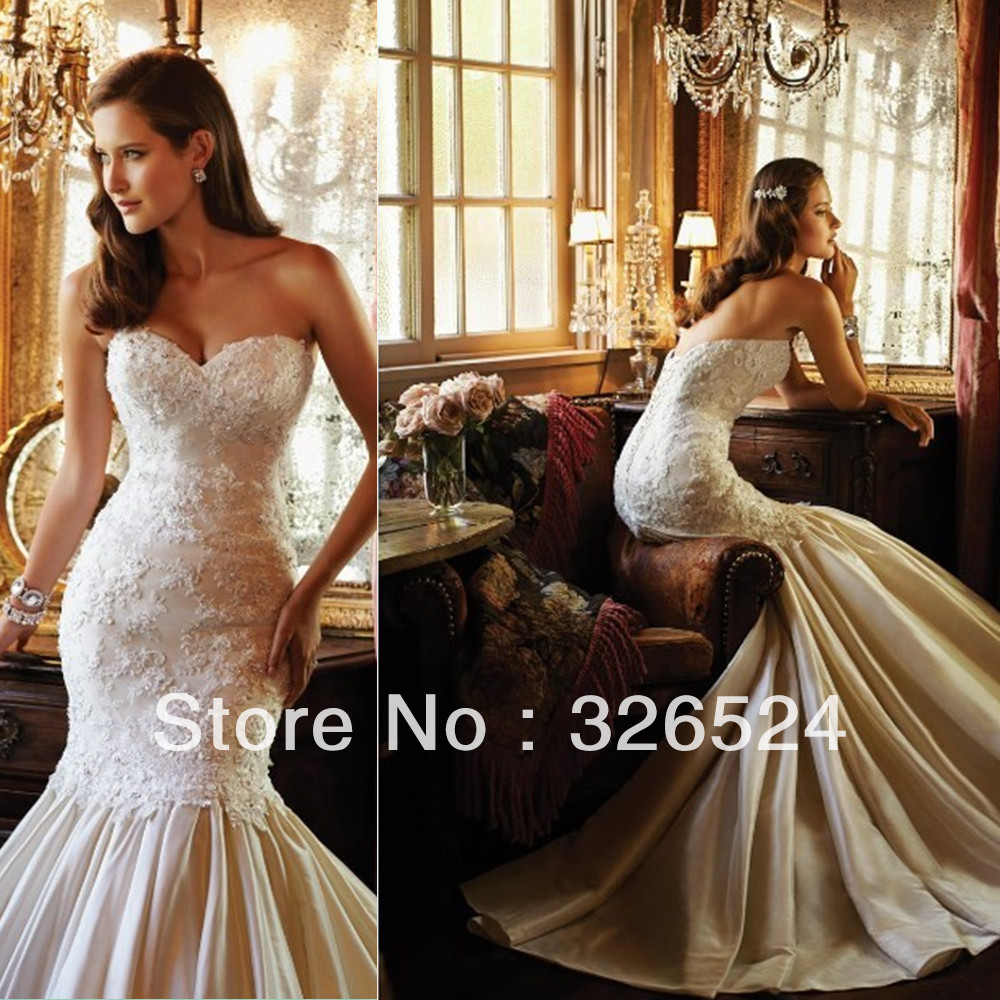 Hottest Mermaid Edding Dress 2017 Sweetheart Lace Top Satin Bottom Bridal Gown Wedding Xq02 In Dresses From Weddings Events On