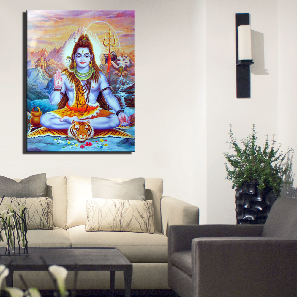 Hindu Gods Shiva Painting Print On Canvas Shiva Figure Canvas Prints ...