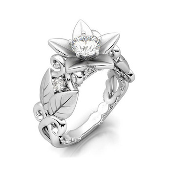 Fashion Silver Carved Leaf Wedding Party Ring For Women Bridal CZ Crystal Flower Rings Gift Drop Shipping Jewelry
