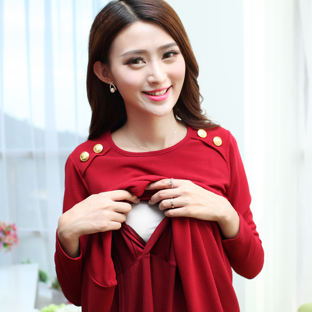 2017 New Arrival Maternity Dresses Pregnant Women Nursing Clothes Breastfeeding Spring Autumn Wear Feeding Clothing Long Sleeve