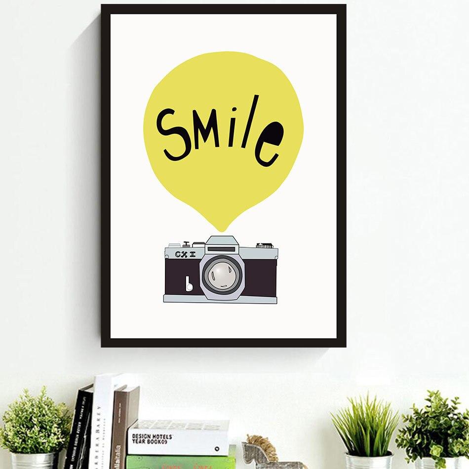 Retro camera balloon smile wall art canvas oil print poster wall ...