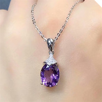 Hot Sale Natural Gemstonel Pendant Necklace 925 Sterling Silver Purple Amethyst Crystal Pendant Necklace MEDBOO Fine