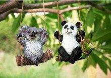 Resin Cute Panda/Koala Figurines Modern Decoration Craft fairy Cartoon Character animal resin craft Home Garden Gift