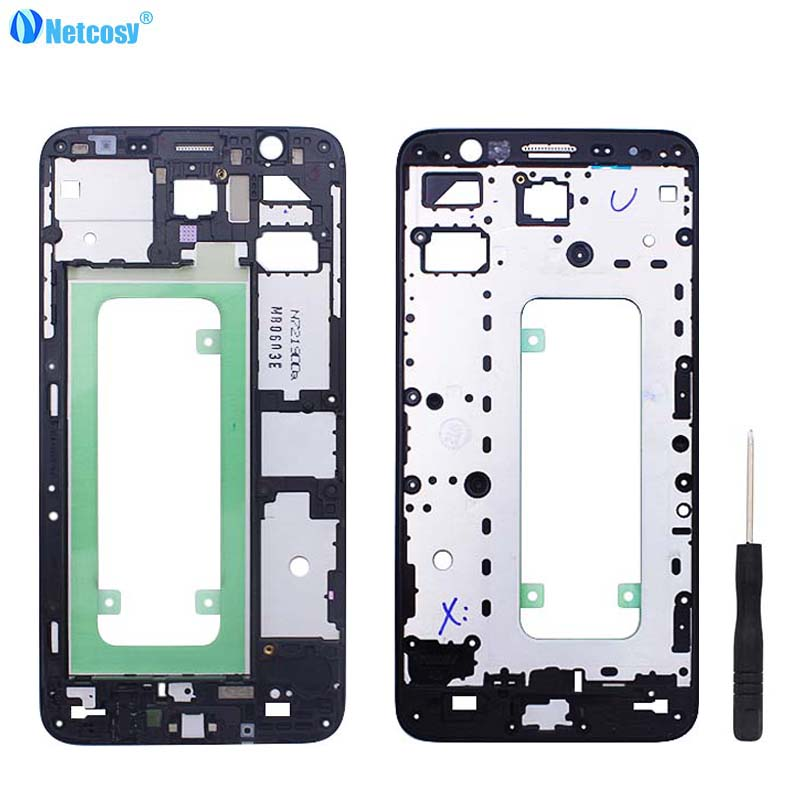Netcosy Front Frame Bezel Housing LCD Screen Holder Frame For Samsung Galaxy J7 Prime On7 (2016) G610 Front Housing Cover +Tools