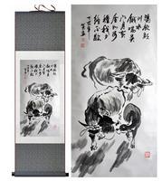 Коровы картины Домашнего Офиса Украшения Китайский свиток живописи Корова картина Китайский чернила paintingPrinted живопись