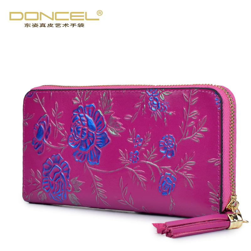 2017 new fashion real genuine leather womens wallets and purses high quality national Embossing Flower Women Standard long purse aiweiyi womens high quality genuine leather real fur 100