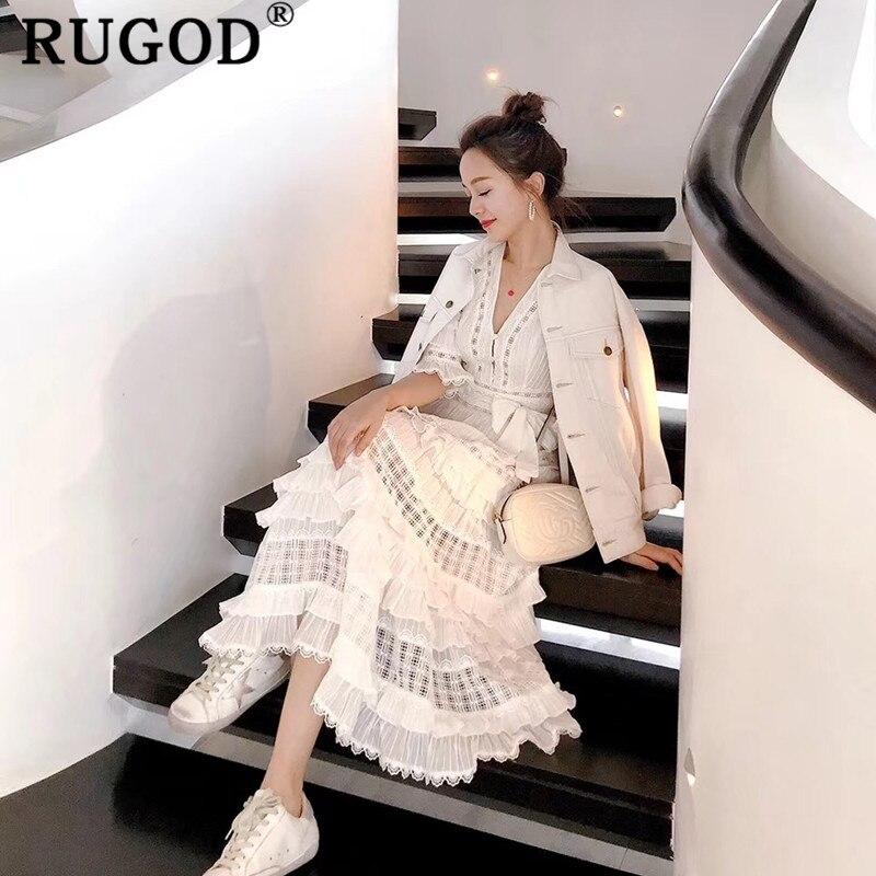 RUGOD Sexy couches volants blanc dentelle femmes robe élégante évider longue maxi dames robe d'été robes de soirée femme