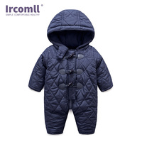 Ircomll 2018 0 24M Newborn Baby Boy Rompers Winter Thick Warm Infant Boys Clothing Long Sleeve Hooded Jumpsuit Kids Outwear