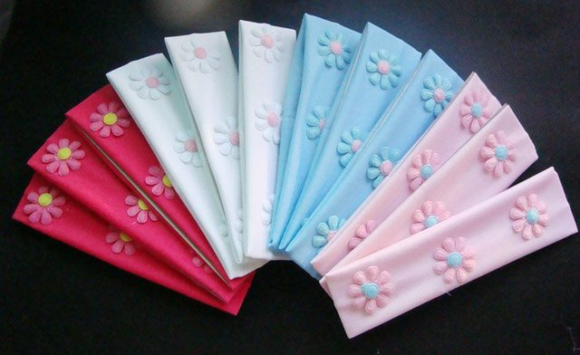 "12pcs Headbands handmade Flower Sticker Print Nylon Stretch Headbands  for children& Baby  headwraps 1.7"" x 6.3'' -Free Shipping"